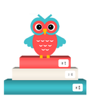 Illustrated owl with red and blue feathers stands on a pile of books.