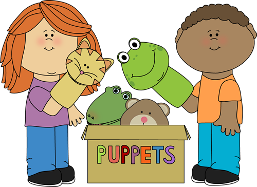 Clipart of two children playing with puppets from a box of puppets