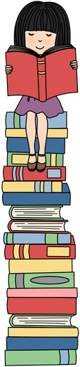 Girl smiling and sitting on top of stack of books, with red book open. Clipart creation credit to Mae Hates Mondays